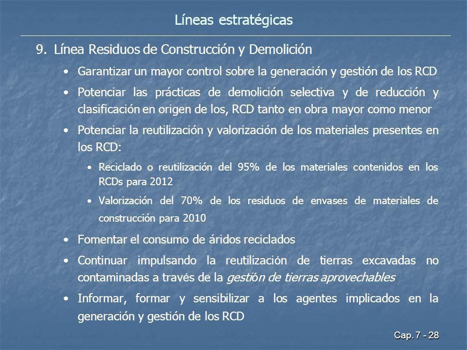 Cap. 7 - 28 9. 9.Línea Residuos de Construcción y Demolición Garantizar un mayor control sobre la generación y gestión de los RCD Potenciar las prácti