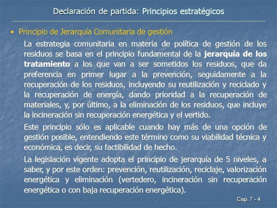 Cap. 7 - 4 Declaración de partida: Declaración de partida: Principios estratégicos Principio de Jerarquía Comunitaria de gestión La estrategia comunit