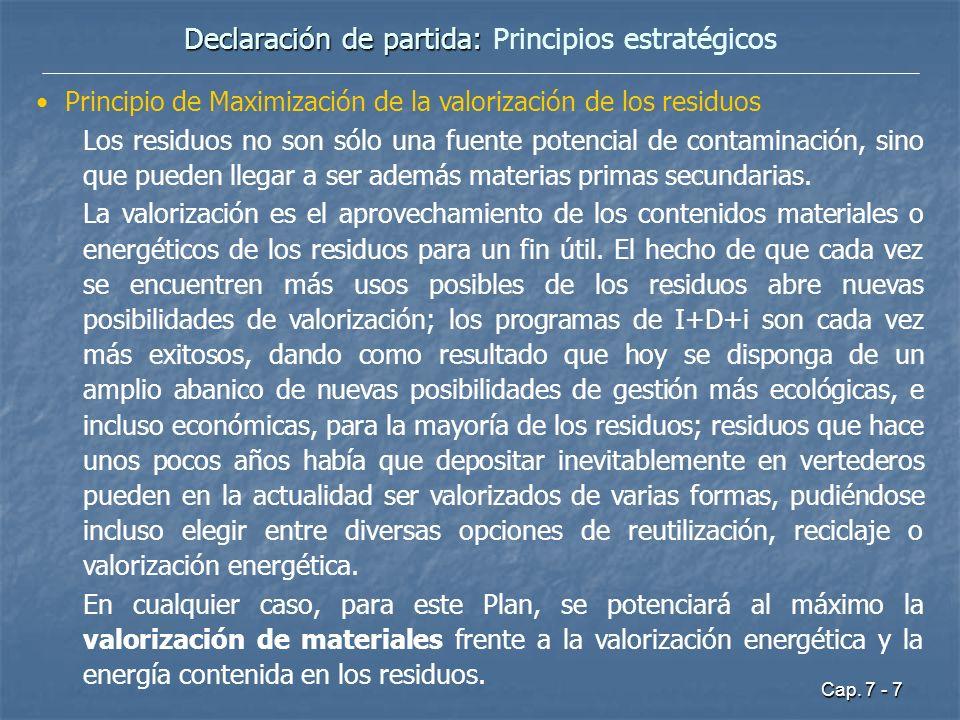 Cap. 7 - 7 Declaración de partida: Declaración de partida: Principios estratégicos Principio de Maximización de la valorización de los residuos Los re