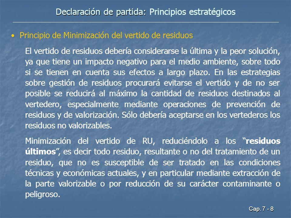 Cap. 7 - 8 Declaración de partida: Declaración de partida: Principios estratégicos Principio de Minimización del vertido de residuos El vertido de res