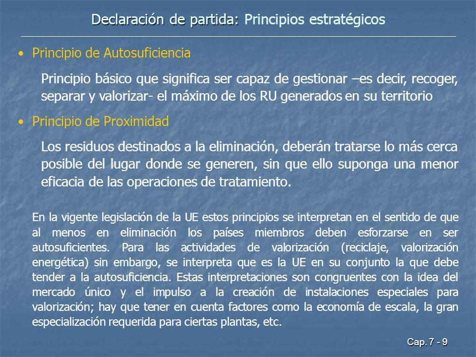 Cap. 7 - 9 Declaración de partida: Declaración de partida: Principios estratégicos Principio de Autosuficiencia Principio básico que significa ser cap