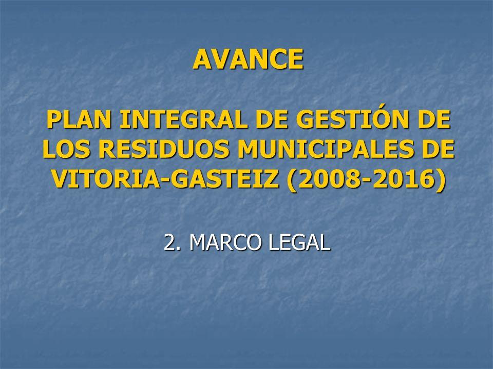 AVANCE PLAN INTEGRAL DE GESTIÓN DE LOS RESIDUOS MUNICIPALES DE VITORIA-GASTEIZ (2008-2016) 2. MARCO LEGAL