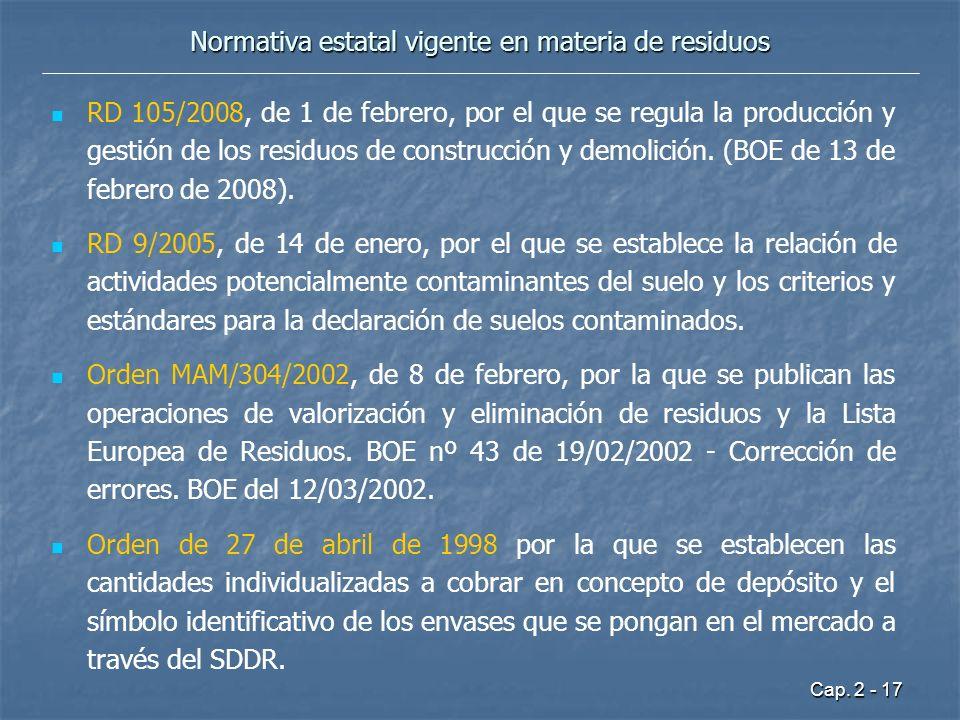 Cap. 2 - 17 Normativa estatal vigente en materia de residuos RD 105/2008, de 1 de febrero, por el que se regula la producción y gestión de los residuo
