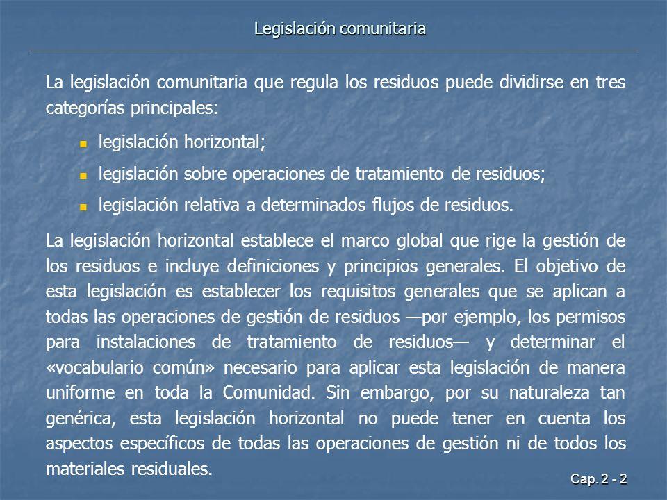 Cap. 2 - 2 Legislación comunitaria La legislación comunitaria que regula los residuos puede dividirse en tres categorías principales: legislación hori