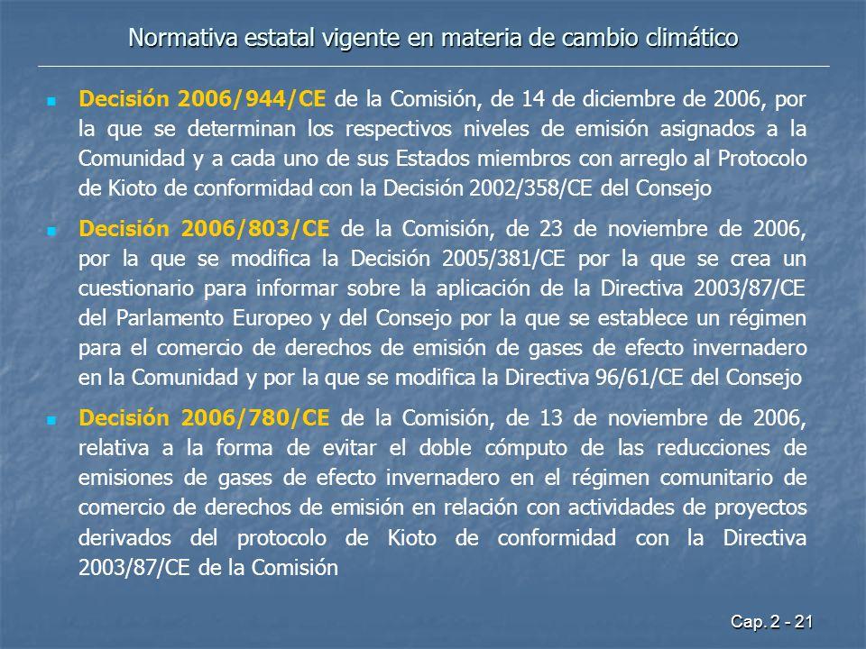 Cap. 2 - 21 Normativa estatal vigente en materia de cambio climático Decisión 2006/944/CE de la Comisión, de 14 de diciembre de 2006, por la que se de