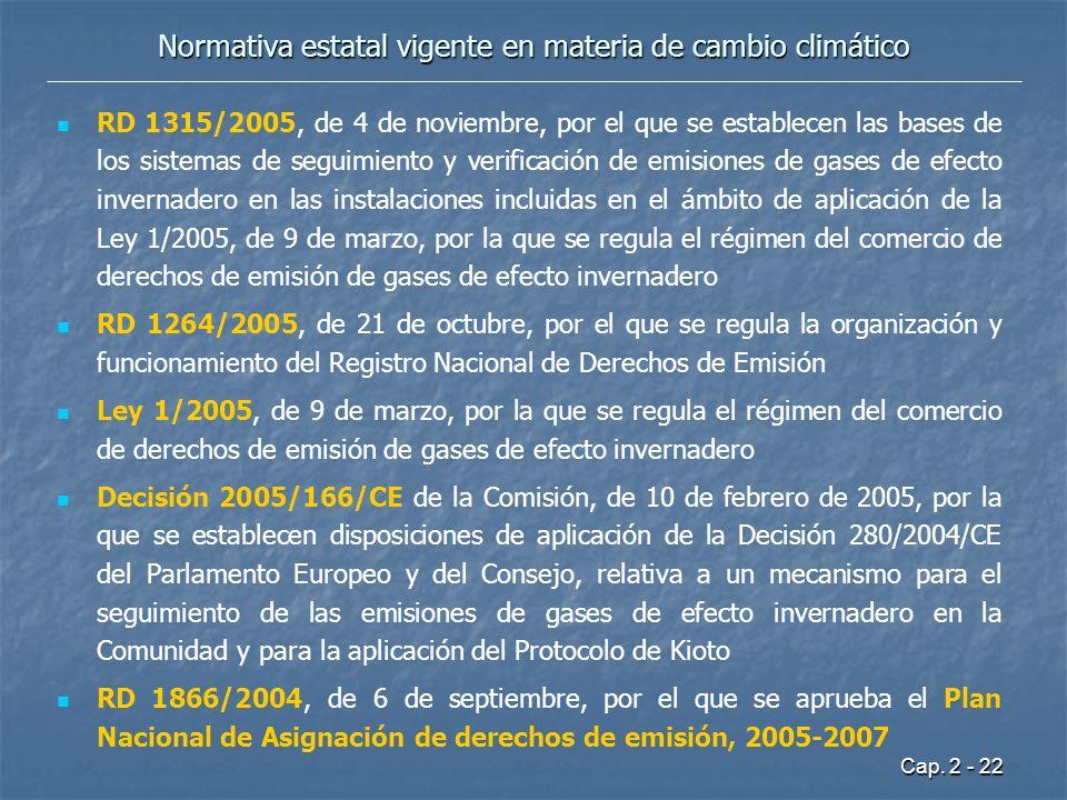 Cap. 2 - 22 Normativa estatal vigente en materia de cambio climático RD 1315/2005, de 4 de noviembre, por el que se establecen las bases de los sistem