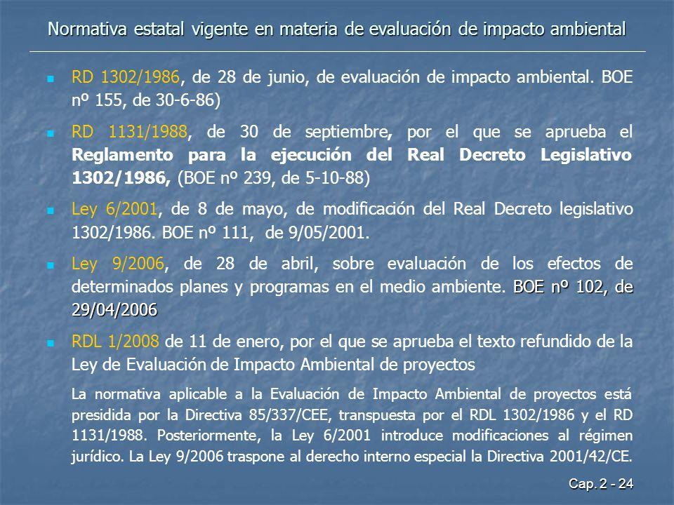 Cap. 2 - 24 Normativa estatal vigente en materia de evaluación de impacto ambiental RD 1302/1986, de 28 de junio, de evaluación de impacto ambiental.