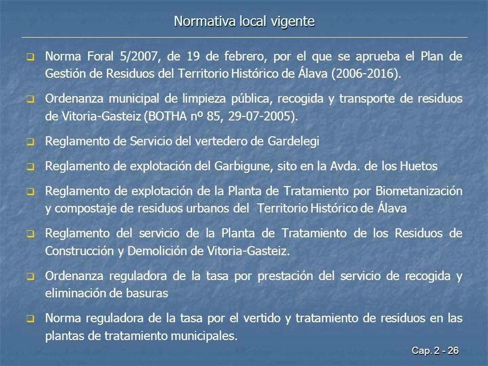 Cap. 2 - 26 Normativa local vigente Norma Foral 5/2007, de 19 de febrero, por el que se aprueba el Plan de Gestión de Residuos del Territorio Históric