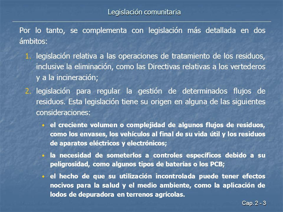 Cap. 2 - 3 Legislación comunitaria Por lo tanto, se complementa con legislación más detallada en dos ámbitos: 1. 1.legislación relativa a las operacio