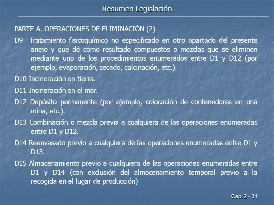 Cap. 2 - 31 Resumen Legislación PARTE A. OPERACIONES DE ELIMINACIÓN (2) D9 Tratamiento fisicoquímico no especificado en otro apartado del presente ane