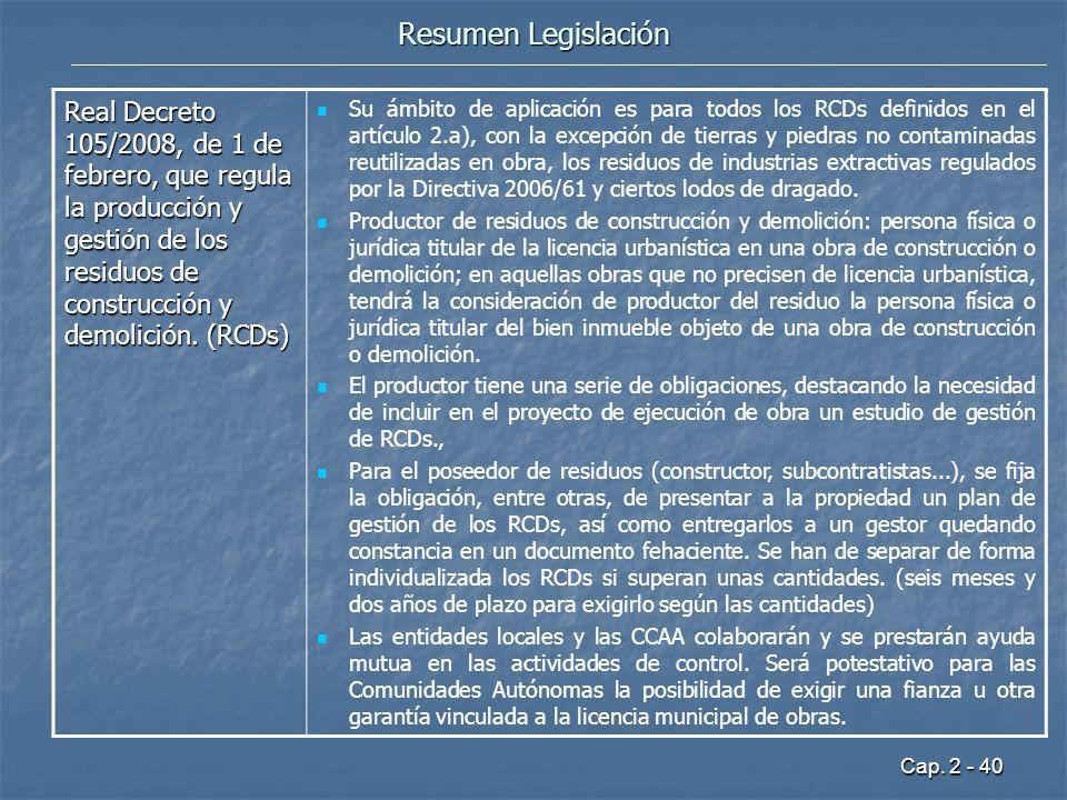 Cap. 2 - 40 Resumen Legislación Real Decreto 105/2008, de 1 de febrero, que regula la producción y gestión de los residuos de construcción y demolició