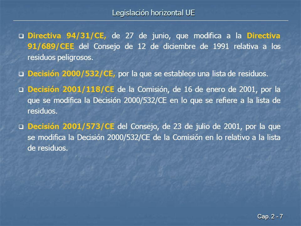 Cap. 2 - 7 Legislación horizontal UE Directiva 94/31/CE, de 27 de junio, que modifica a la Directiva 91/689/CEE del Consejo de 12 de diciembre de 1991