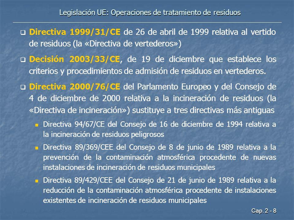 Cap. 2 - 8 Legislación UE: Operaciones de tratamiento de residuos Directiva 1999/31/CE de 26 de abril de 1999 relativa al vertido de residuos (la «Dir