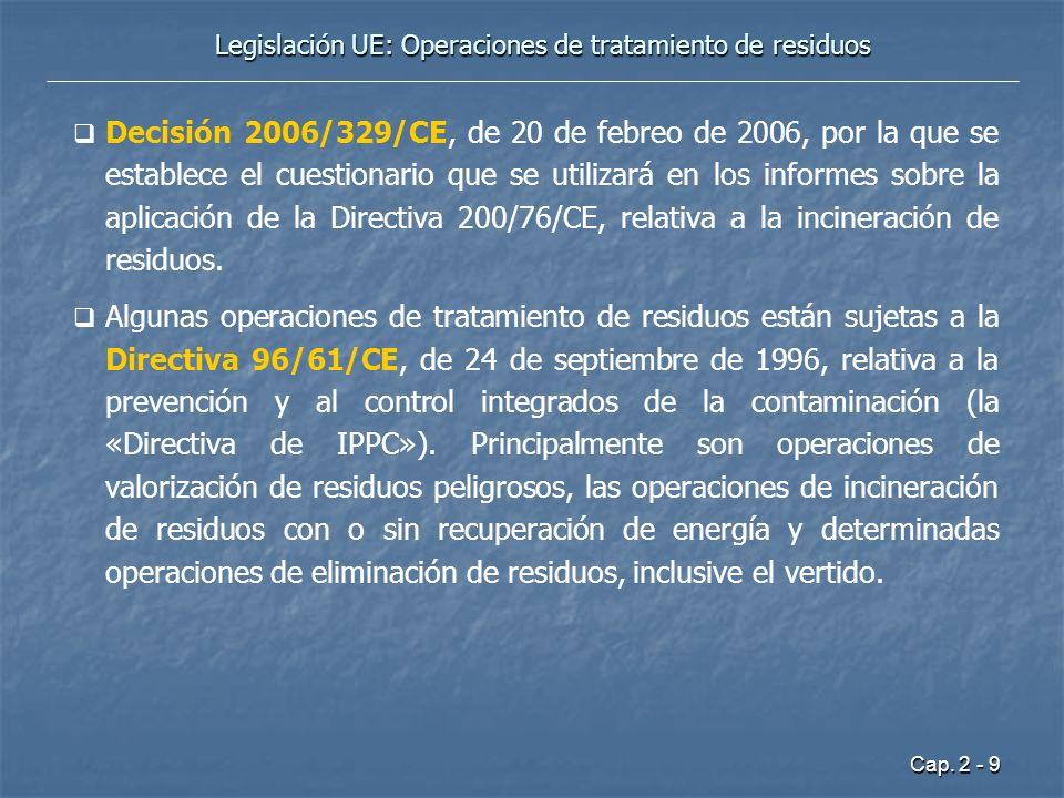 Cap. 2 - 9 Legislación UE: Operaciones de tratamiento de residuos Decisión 2006/329/CE, de 20 de febreo de 2006, por la que se establece el cuestionar