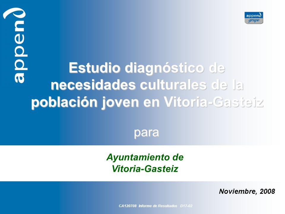 Estudio diagnósticos de necesidades culturales de la población joven en Vitoria-Gasteiz 2 Introducción ¿Qué hacen los jóvenes vitorianos en su tiempo libre.