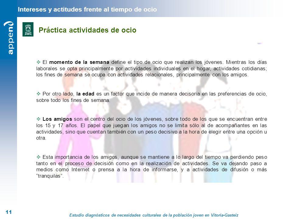 Estudio diagnósticos de necesidades culturales de la población joven en Vitoria-Gasteiz 11 El momento de la semana define el tipo de ocio que realizan
