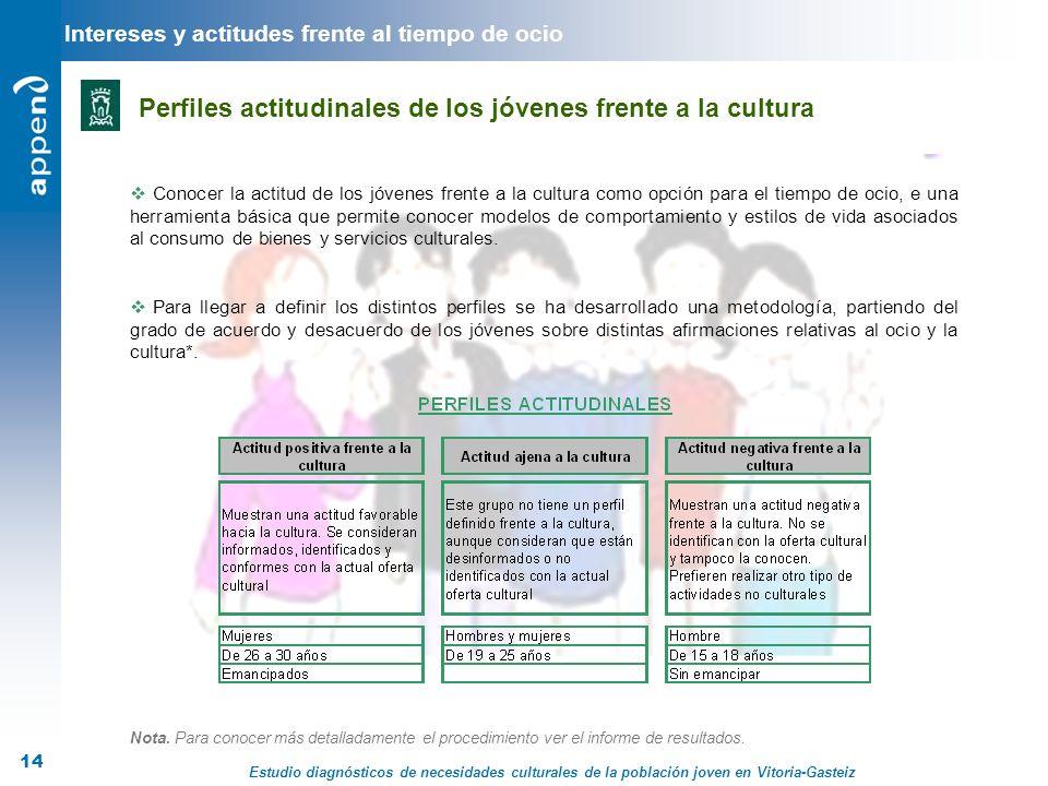 Estudio diagnósticos de necesidades culturales de la población joven en Vitoria-Gasteiz 14 Intereses y actitudes frente al tiempo de ocio Perfiles act