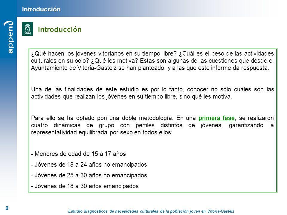 Estudio diagnósticos de necesidades culturales de la población joven en Vitoria-Gasteiz 3 Informe En una segunda fase, y con el objetivo de refrendar y ampliar la información recogida en los grupos, se realizaron 505 encuestas telefónicas a jóvenes entre 15 y 30 años residentes en Vitoria-Gasteiz.