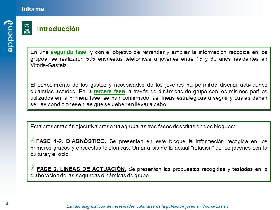Estudio diagnósticos de necesidades culturales de la población joven en Vitoria-Gasteiz 4 Metodología FASE 1 FASE 2 FASE 3 FASE 4 FASE 5 (DOCUMENTAL) (CUALITATIVO) (CUANTITATIVO) (INFORME) Este informe ha sido realizado siguiendo todas las instrucciones marcadas por la Norma Internacional de Calidad en Investigación de Mercados UNE-ISO 20252 (CUALITATIVO Propuestas de actuación) Metodología
