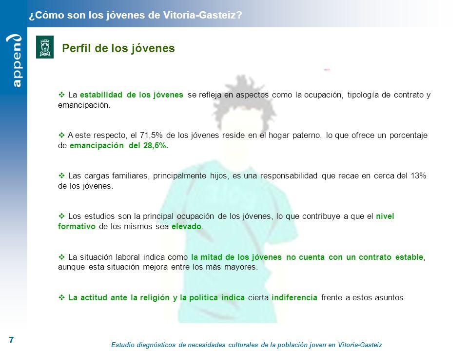 Estudio diagnósticos de necesidades culturales de la población joven en Vitoria-Gasteiz 7 ¿Cómo son los jóvenes de Vitoria-Gasteiz? Perfil de los jóve