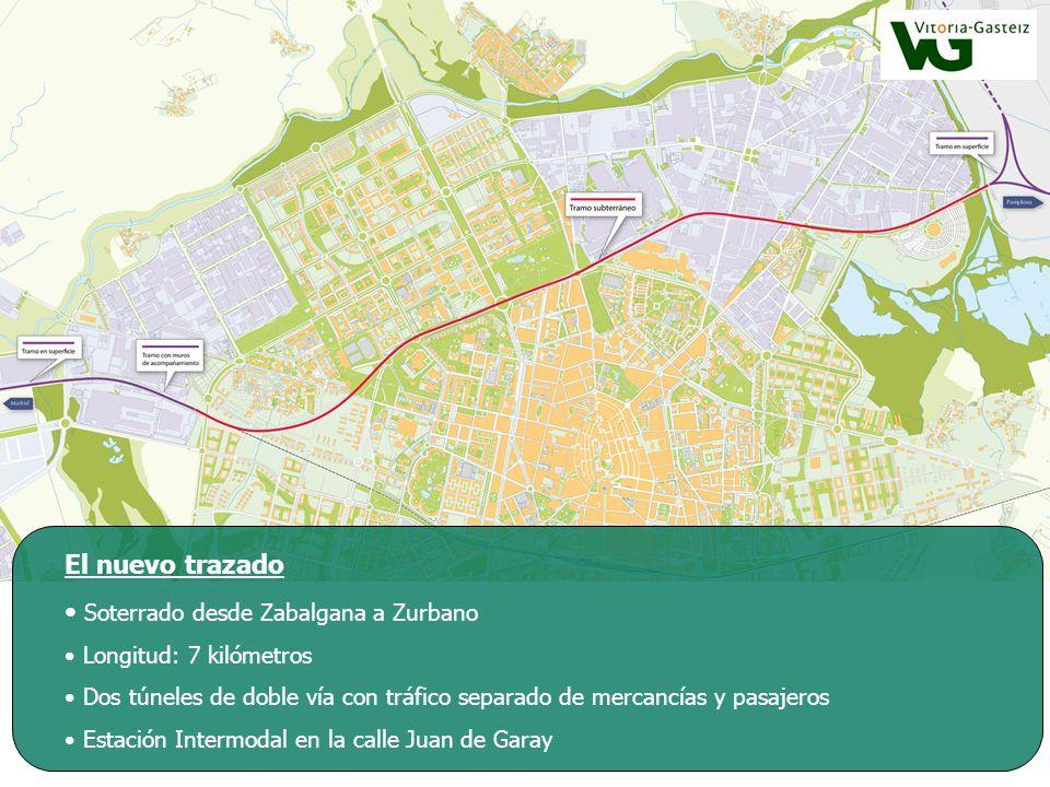 El nuevo trazado Soterrado desde Zabalgana a Zurbano Longitud: 7 kilómetros Dos túneles de doble vía con tráfico separado de mercancías y pasajeros Es