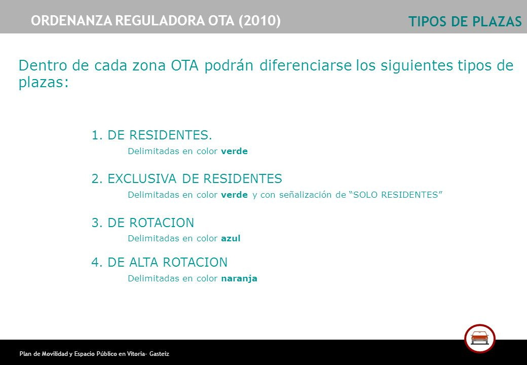Plan de Movilidad y Espacio Público en Vitoria- Gasteiz TIPOS DE PLAZAS 1. DE RESIDENTES. Delimitadas en color verde 2. EXCLUSIVA DE RESIDENTES Delimi