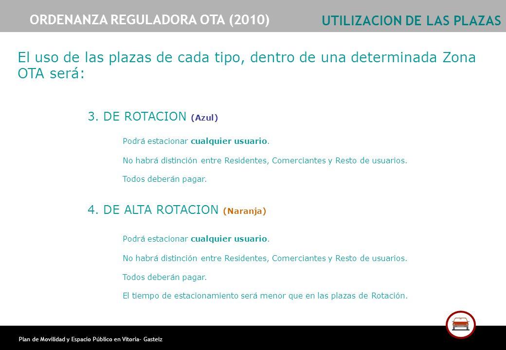 Plan de Movilidad y Espacio Público en Vitoria- Gasteiz UTILIZACION DE LAS PLAZAS 3. DE ROTACION (Azul) Podrá estacionar cualquier usuario. No habrá d