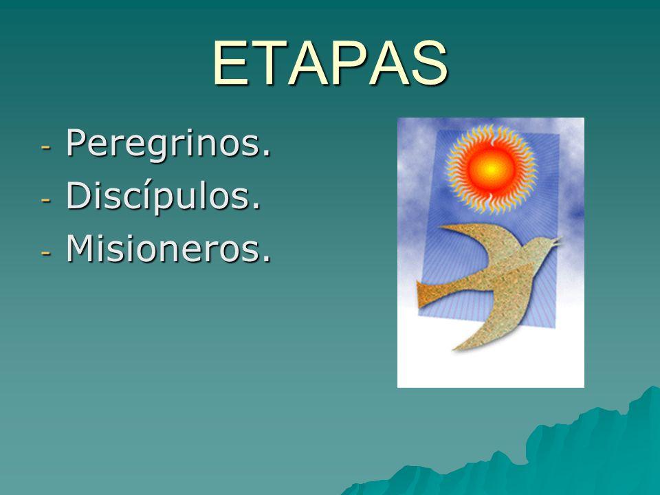 ETAPAS - Peregrinos. - Discípulos. - Misioneros.