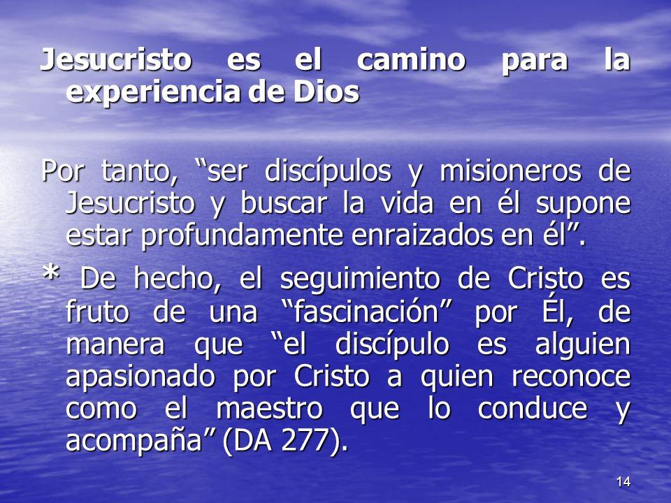 14 Jesucristo es el camino para la experiencia de Dios Por tanto, ser discípulos y misioneros de Jesucristo y buscar la vida en él supone estar profun
