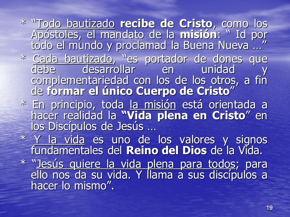 19 * Todo bautizado recibe de Cristo, como los Apóstoles, el mandato de la misión: Id por todo el mundo y proclamad la Buena Nueva … * Cada bautizado,