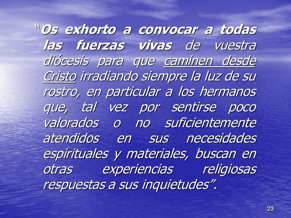 23 Os exhorto a convocar a todas las fuerzas vivas de vuestra diócesis para que caminen desde Cristo irradiando siempre la luz de su rostro, en partic