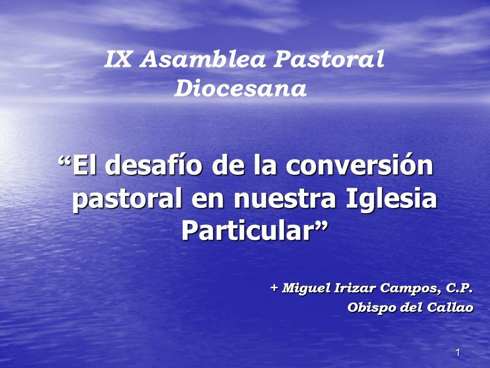 1 El desafío de la conversión pastoral en nuestra Iglesia Particular El desafío de la conversión pastoral en nuestra Iglesia Particular + Miguel Iriza