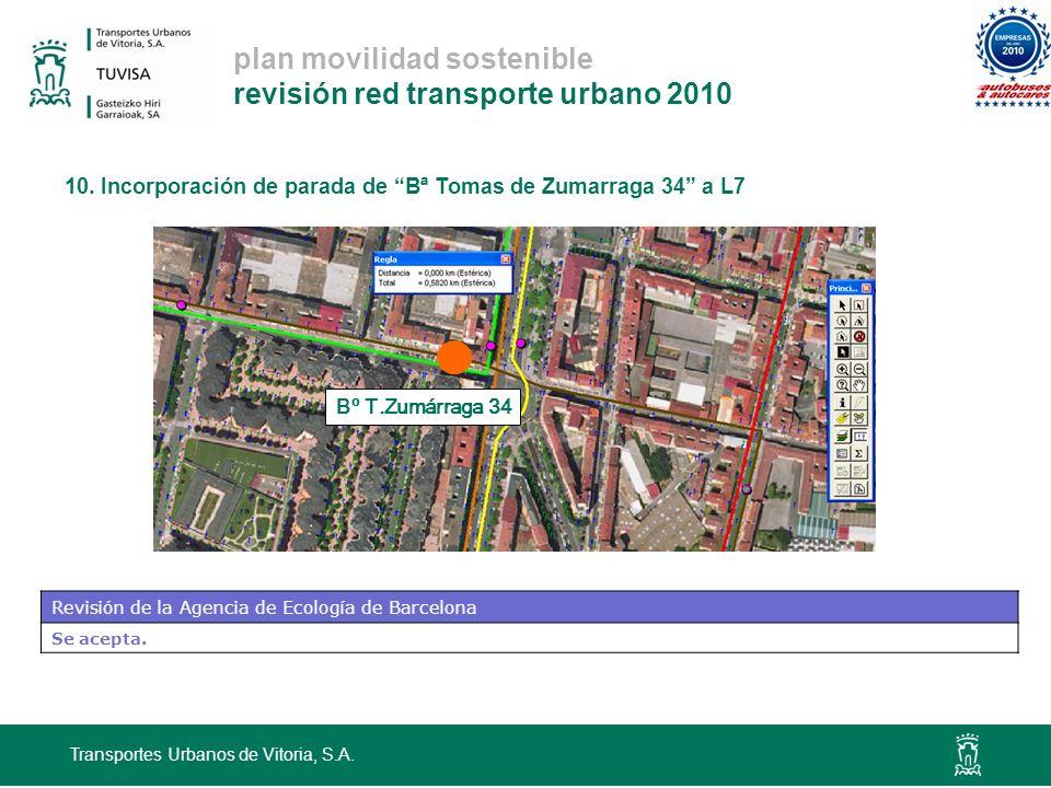 plan movilidad sostenible revisión red transporte urbano 2010 10. Incorporación de parada de Bª Tomas de Zumarraga 34 a L7 Transportes Urbanos de Vito