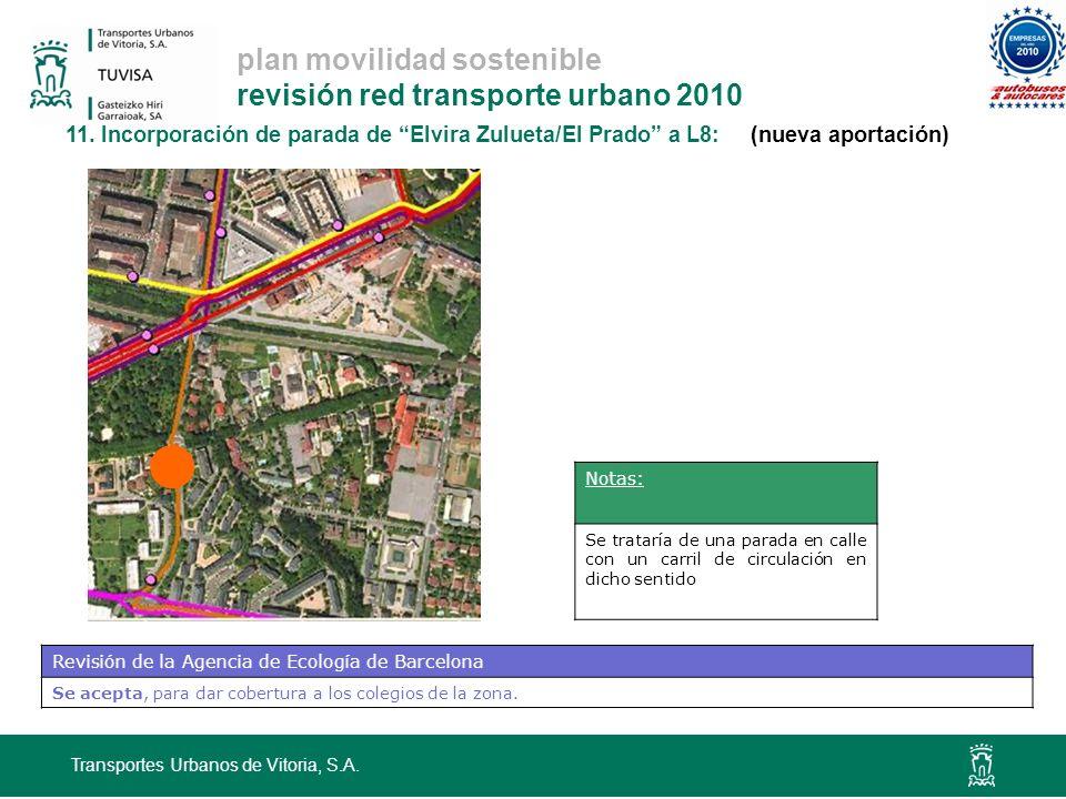 plan movilidad sostenible revisión red transporte urbano 2010 11. Incorporación de parada de Elvira Zulueta/El Prado a L8: (nueva aportación) Transpor