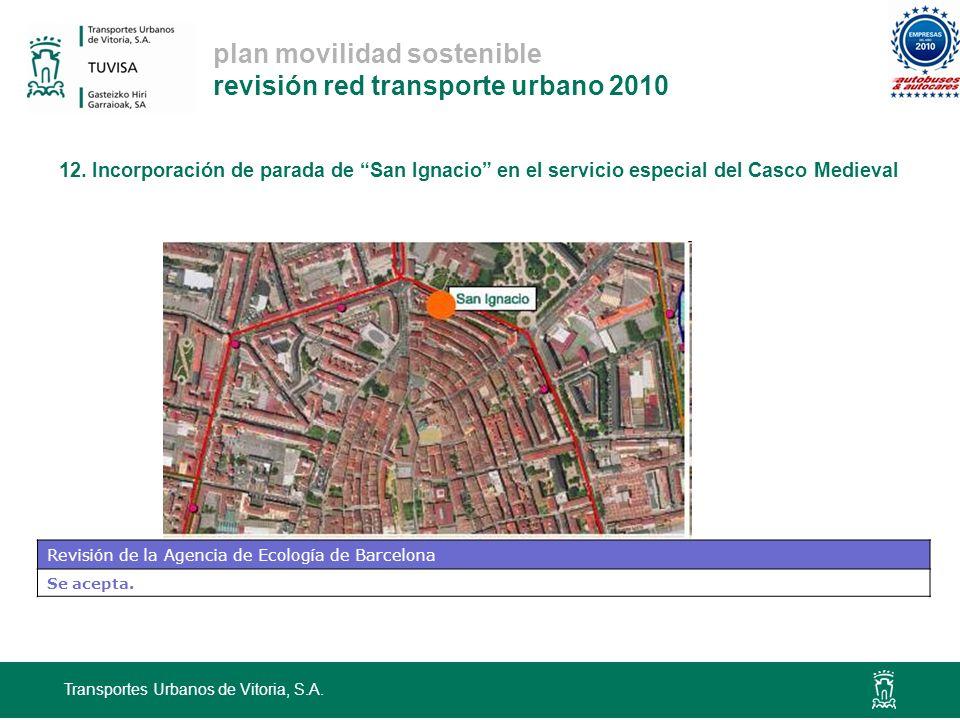 plan movilidad sostenible revisión red transporte urbano 2010 12. Incorporación de parada de San Ignacio en el servicio especial del Casco Medieval Tr