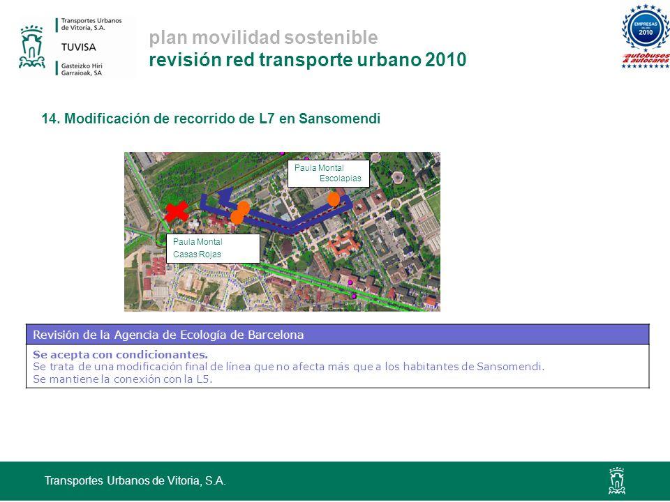 plan movilidad sostenible revisión red transporte urbano 2010 14. Modificación de recorrido de L7 en Sansomendi Transportes Urbanos de Vitoria, S.A. P