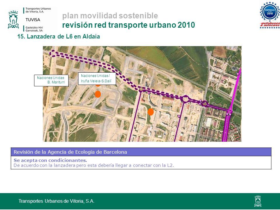plan movilidad sostenible revisión red transporte urbano 2010 15. Lanzadera de L6 en Aldaia Transportes Urbanos de Vitoria, S.A. Naciones Unidas B. Ma