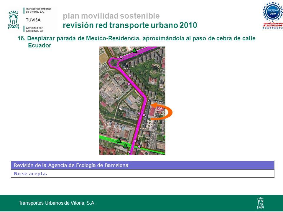 plan movilidad sostenible revisión red transporte urbano 2010 Transportes Urbanos de Vitoria, S.A. 16. Desplazar parada de Mexico-Residencia, aproximá
