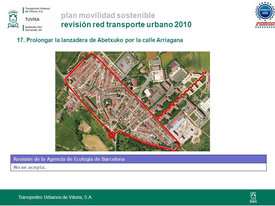 plan movilidad sostenible revisión red transporte urbano 2010 Transportes Urbanos de Vitoria, S.A. 17. Prolongar la lanzadera de Abetxuko por la calle