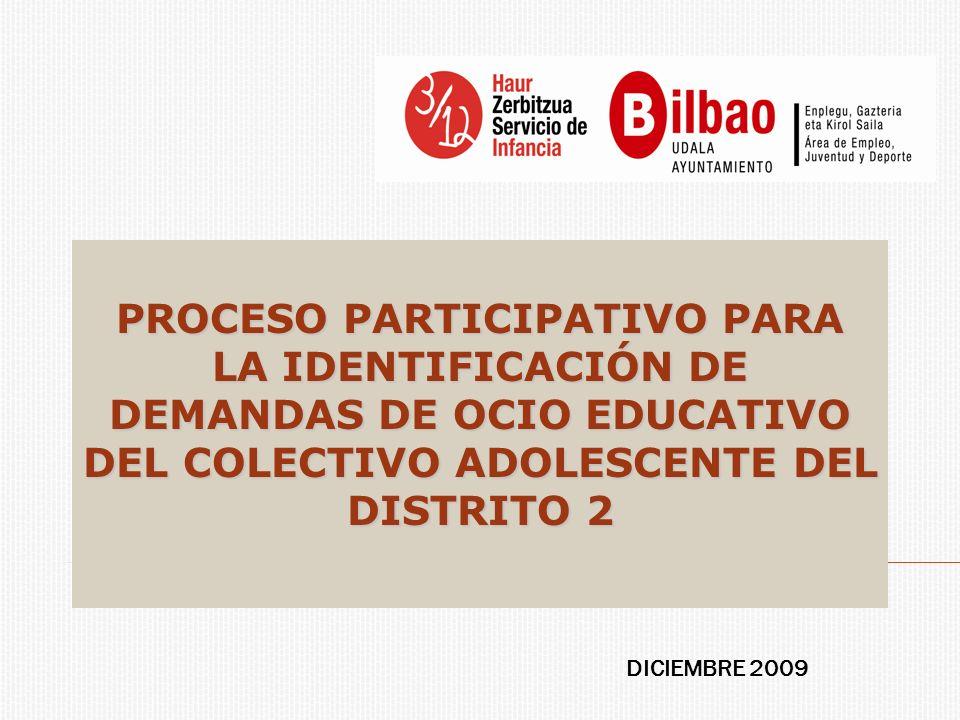 PROCESO PARTICIPATIVO PARA LA IDENTIFICACIÓN DE DEMANDAS DE OCIO EDUCATIVO DEL COLECTIVO ADOLESCENTE DEL DISTRITO 2 DICIEMBRE 2009