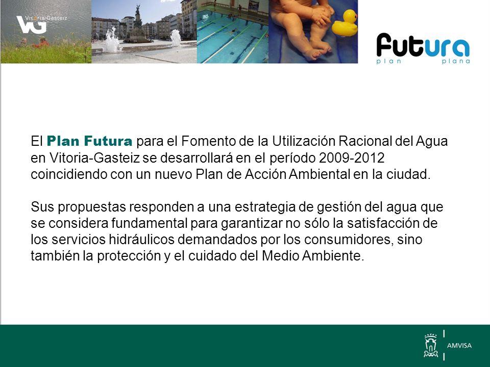 El Plan Futura para el Fomento de la Utilización Racional del Agua en Vitoria-Gasteiz se desarrollará en el período 2009-2012 coincidiendo con un nuevo Plan de Acción Ambiental en la ciudad.
