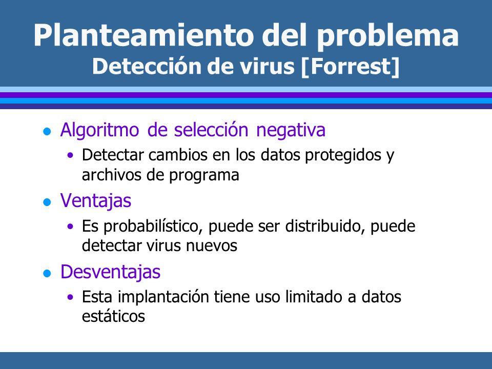 Planteamiento del problema Detección de virus [Forrest] l Algoritmo de selección negativa Detectar cambios en los datos protegidos y archivos de programa l Ventajas Es probabilístico, puede ser distribuido, puede detectar virus nuevos l Desventajas Esta implantación tiene uso limitado a datos estáticos