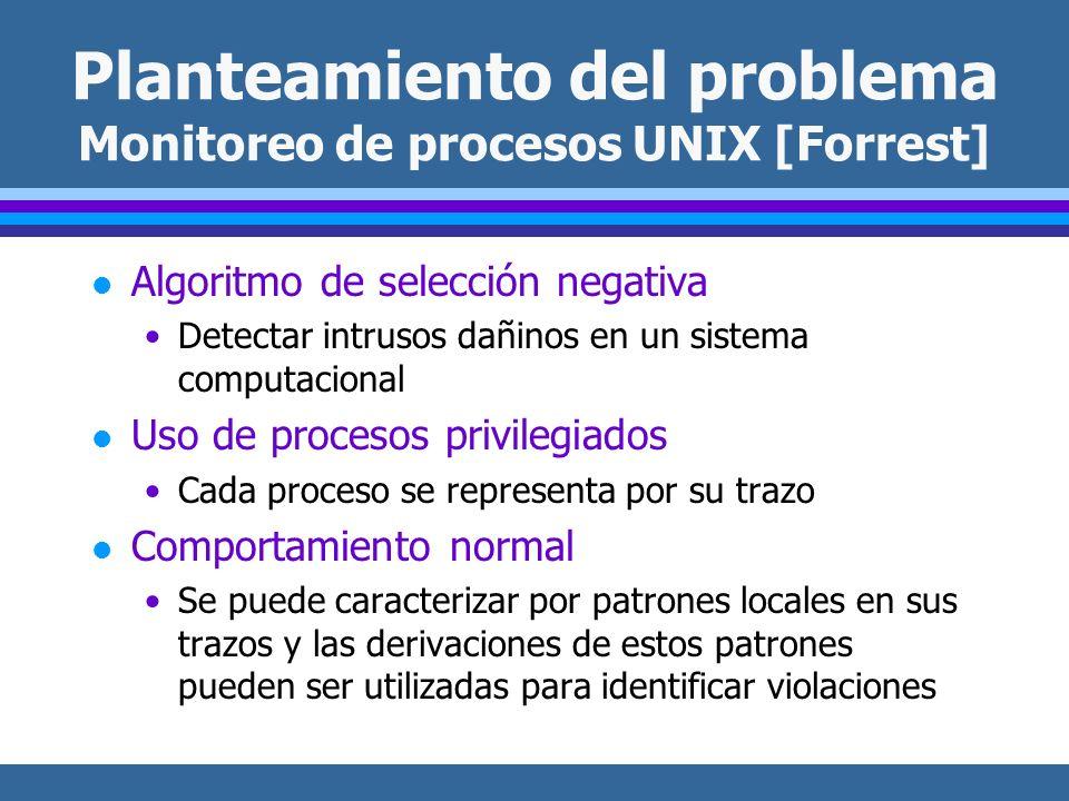 Planteamiento del problema Monitoreo de procesos UNIX [Forrest] l Algoritmo de selección negativa Detectar intrusos dañinos en un sistema computaciona