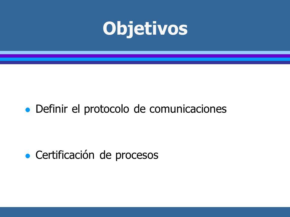 Objetivos l Definir el protocolo de comunicaciones l Certificación de procesos