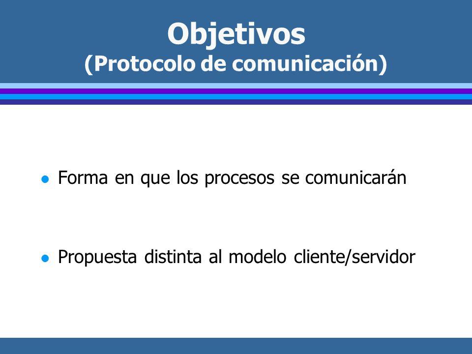 Objetivos (Protocolo de comunicación) l Forma en que los procesos se comunicarán l Propuesta distinta al modelo cliente/servidor