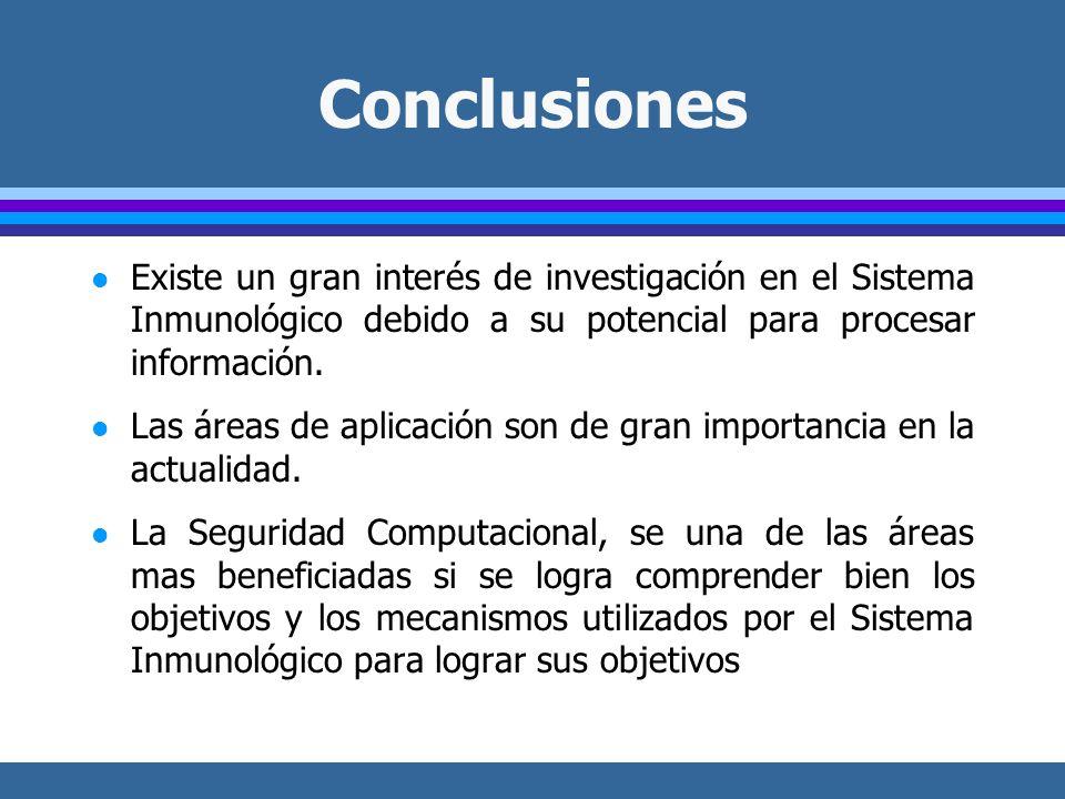 Conclusiones l Existe un gran interés de investigación en el Sistema Inmunológico debido a su potencial para procesar información.