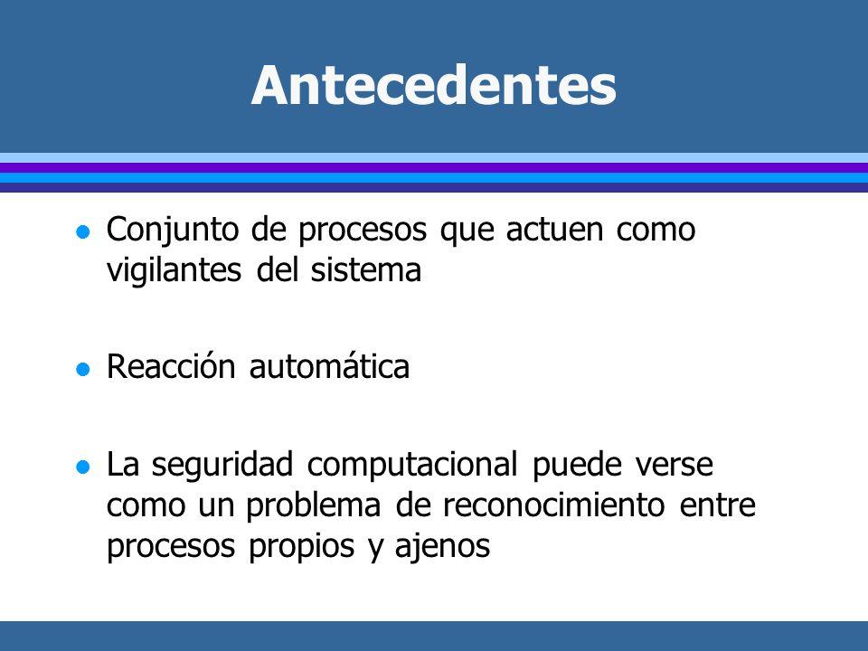 Antecedentes l Conjunto de procesos que actuen como vigilantes del sistema l Reacción automática l La seguridad computacional puede verse como un problema de reconocimiento entre procesos propios y ajenos