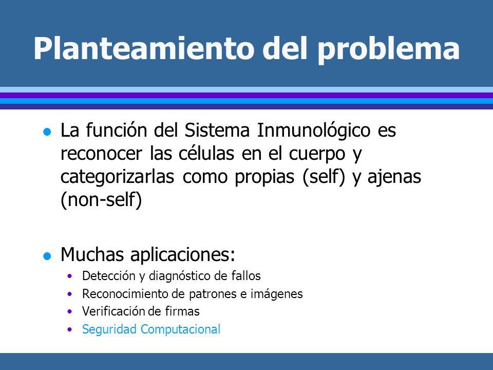 Planteamiento del problema l La función del Sistema Inmunológico es reconocer las células en el cuerpo y categorizarlas como propias (self) y ajenas (