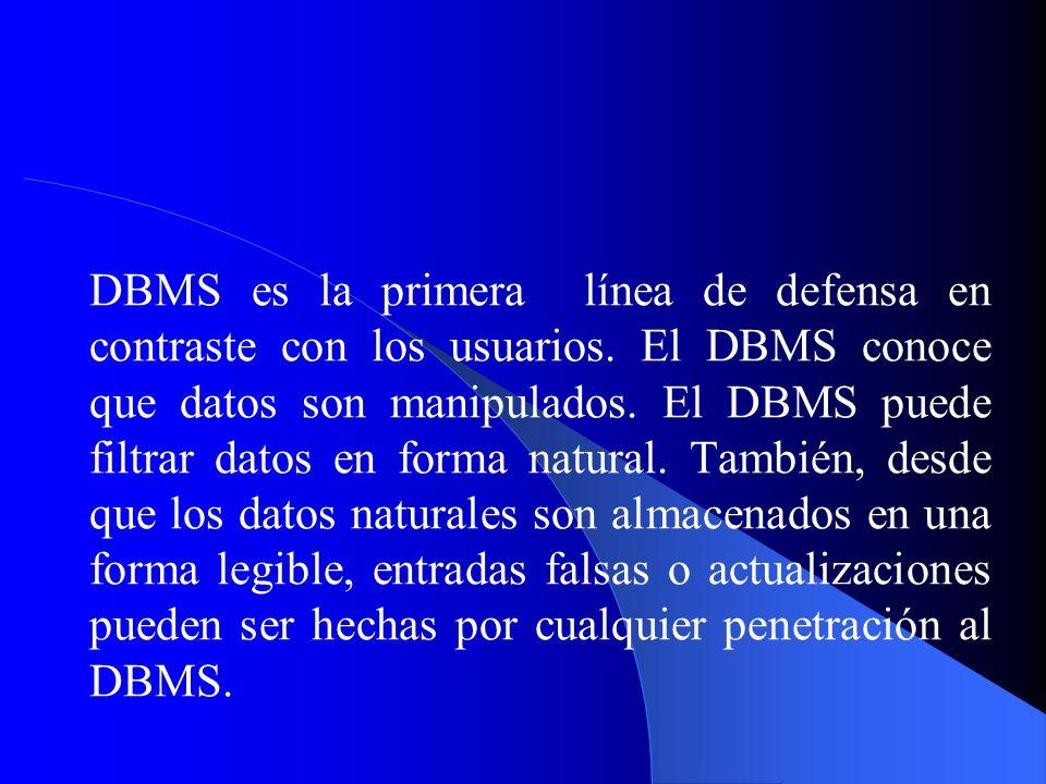 DBMS es la primera línea de defensa en contraste con los usuarios. El DBMS conoce que datos son manipulados. El DBMS puede filtrar datos en forma natu