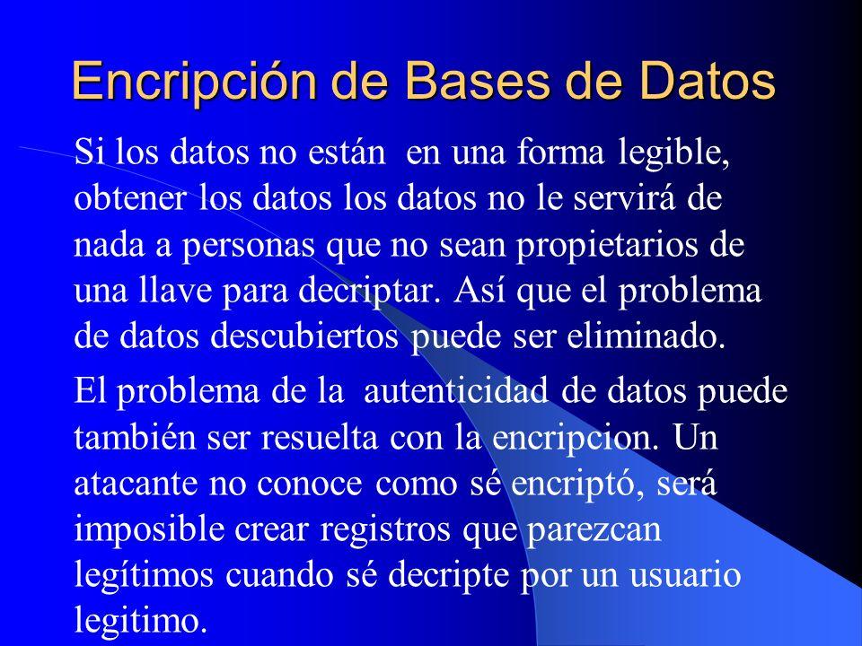 Encripción de Bases de Datos Si los datos no están en una forma legible, obtener los datos los datos no le servirá de nada a personas que no sean prop